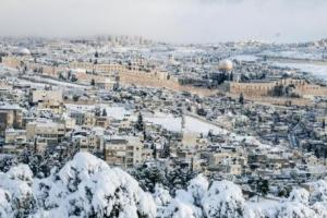 Jerusalem in the snow. Photo by Anna Sheinman